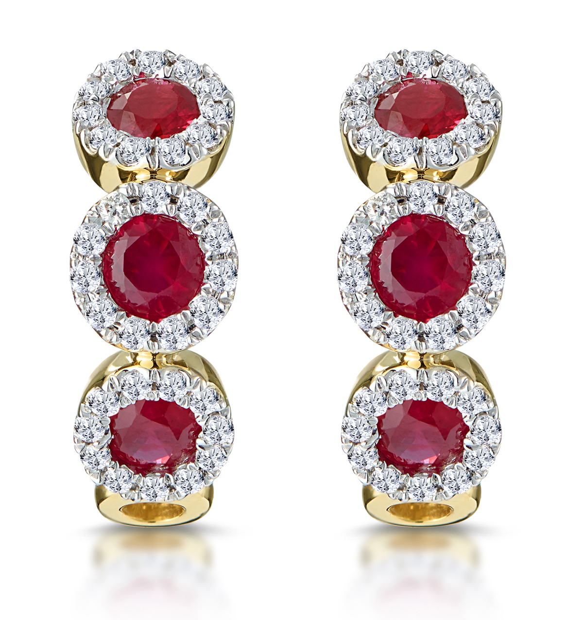 RUBY AND DIAMOND TRILOGY EARRINGS IN 18K GOLD - ASTERIA COLLECTION