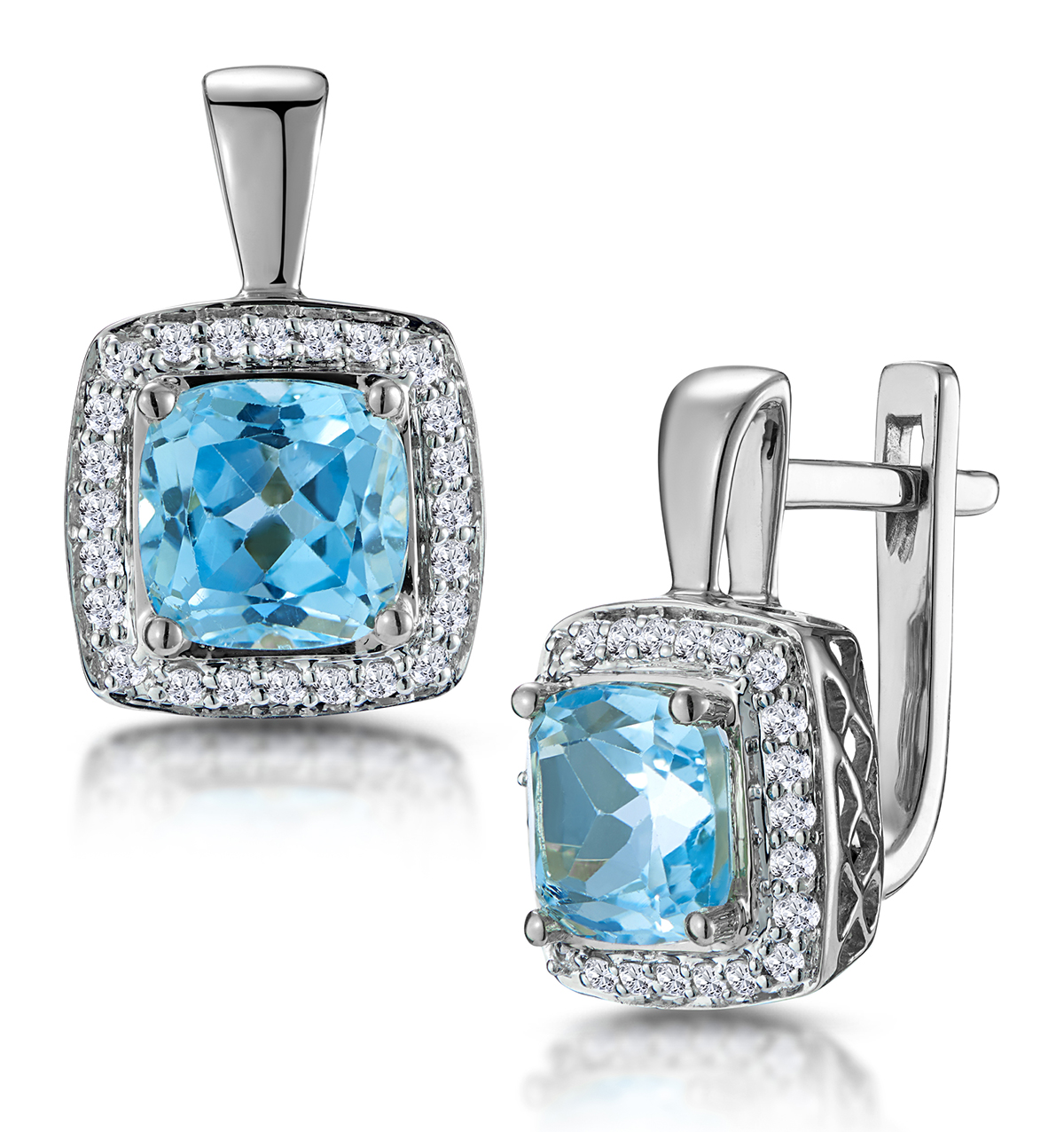 3CT BLUE TOPAZ AND DIAMOND HALO EARRINGS 18KW GOLD ASTERIA COLLECTION