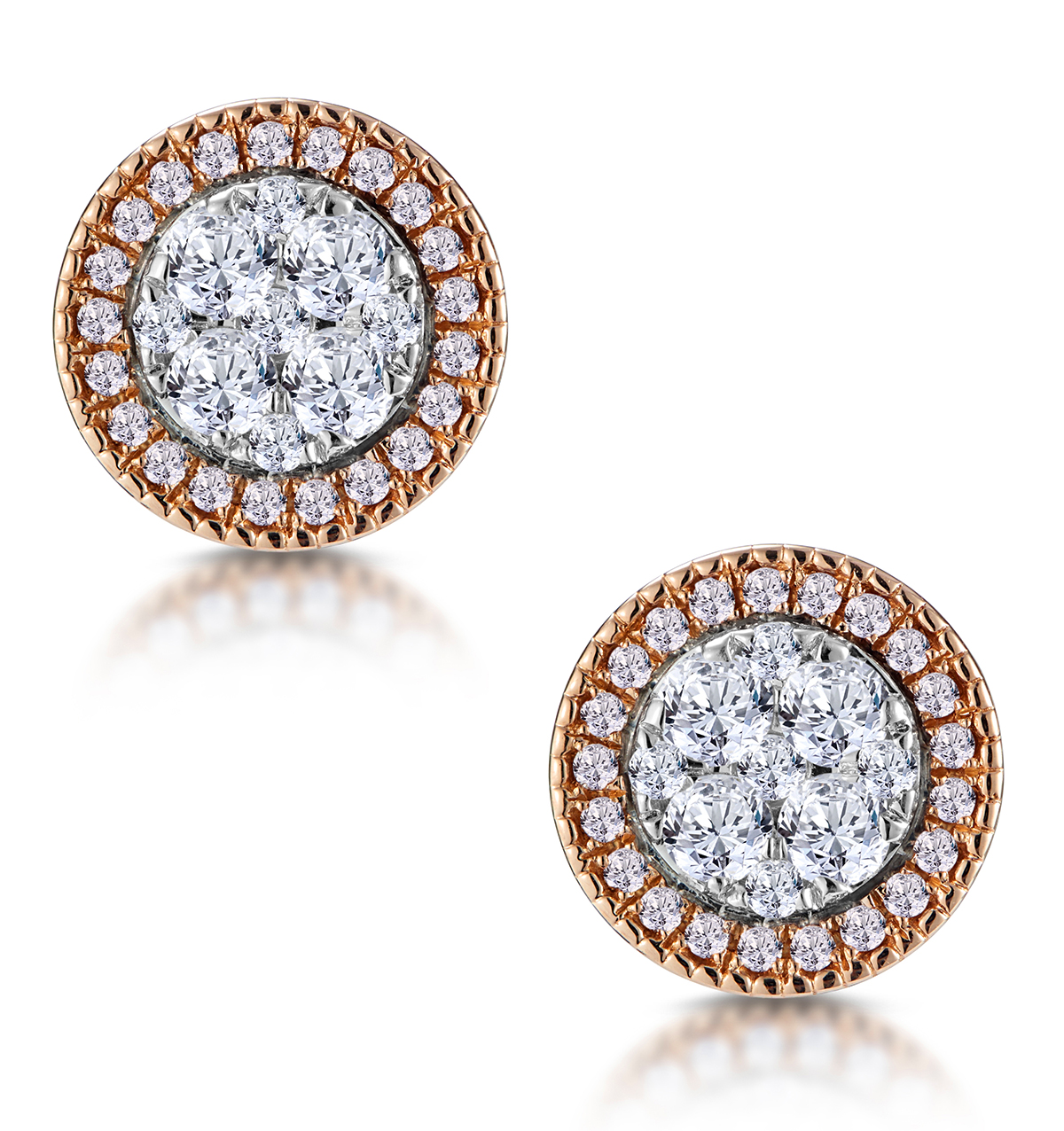 DIAMOND AND PINK DIAMOND HALO ASTERIA CIRCLE EARRINGS 18K ROSE GOLD