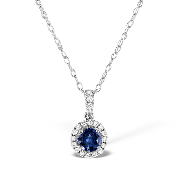 SAPPHIRE 5MM AND DIAMOND 18K WHITE GOLD PENDANT