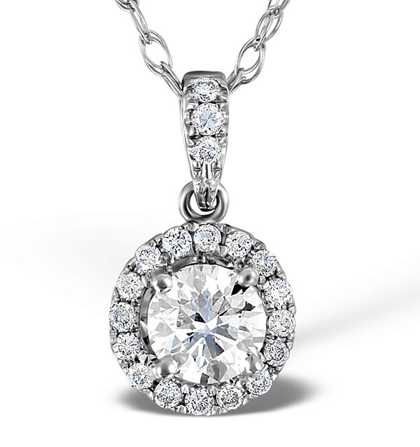 Ella 18K White Gold Diamond Brilliant Cut Pendant 0.71ct H/SI2