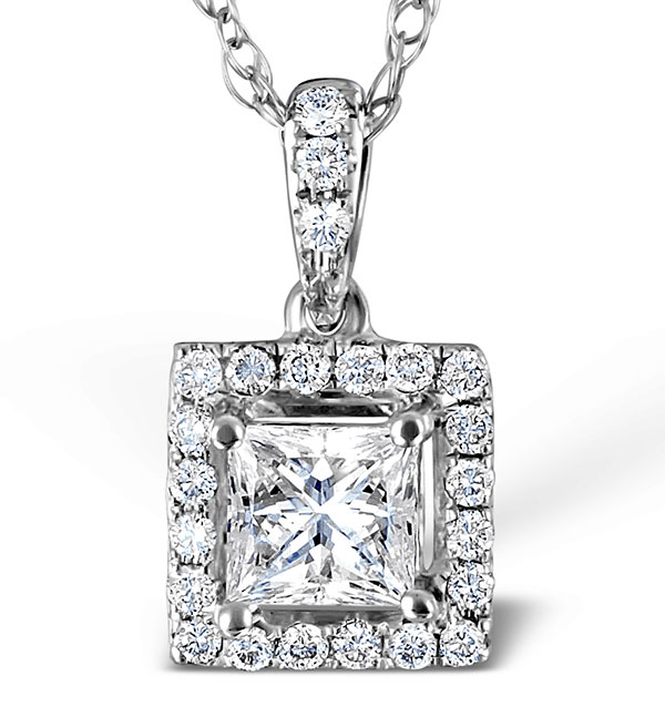 Ella 18K White Gold Diamond Princess Cut Pendant 0.74ct H/SI