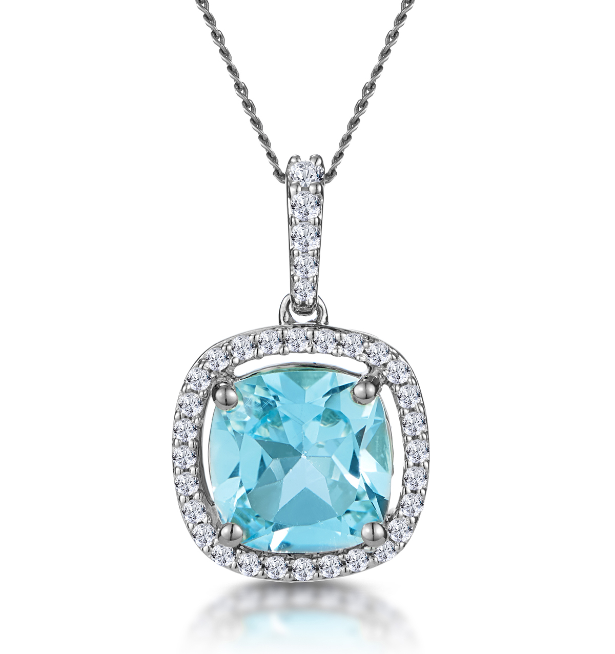 2CT BLUE TOPAZ AND DIAMOND HALO ASTERIA NECKLACE 18KW GOLD