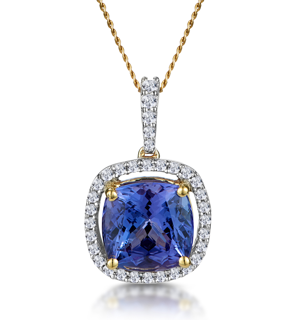 2CT TANZANITE AND DIAMOND HALO NECKLACE IN 18K GOLD ASTERIA COLLECTION