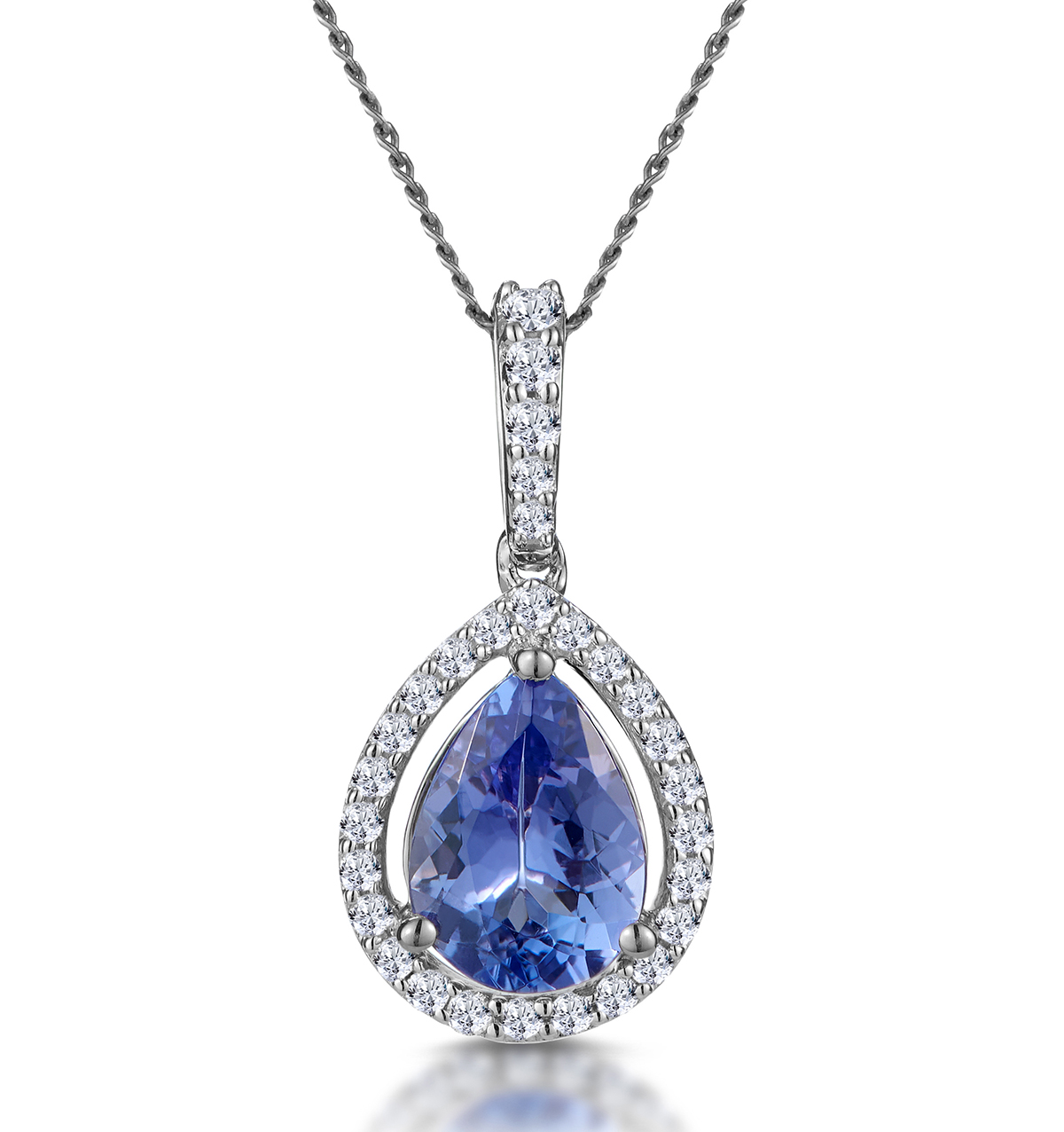 TANZANITE AND DIAMOND HALO PEAR DROP ASTERIA NECKLACE IN 18KW GOLD