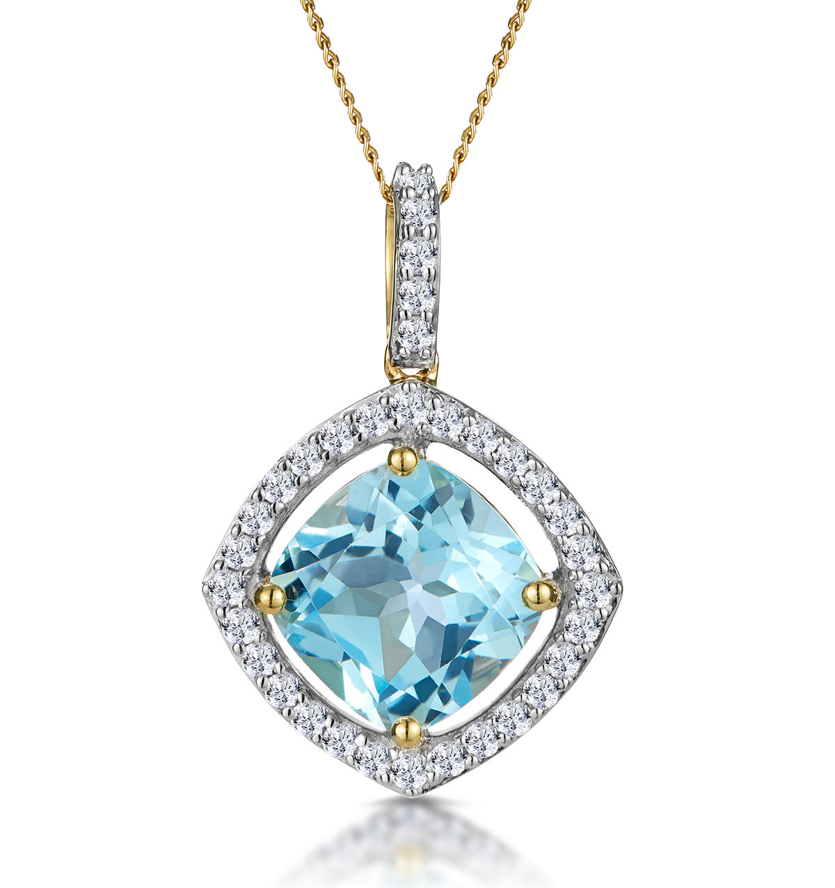 5.40CT BLUE TOPAZ AND DIAMOND HALO ASTERIA NECKLACE IN 18K GOLD