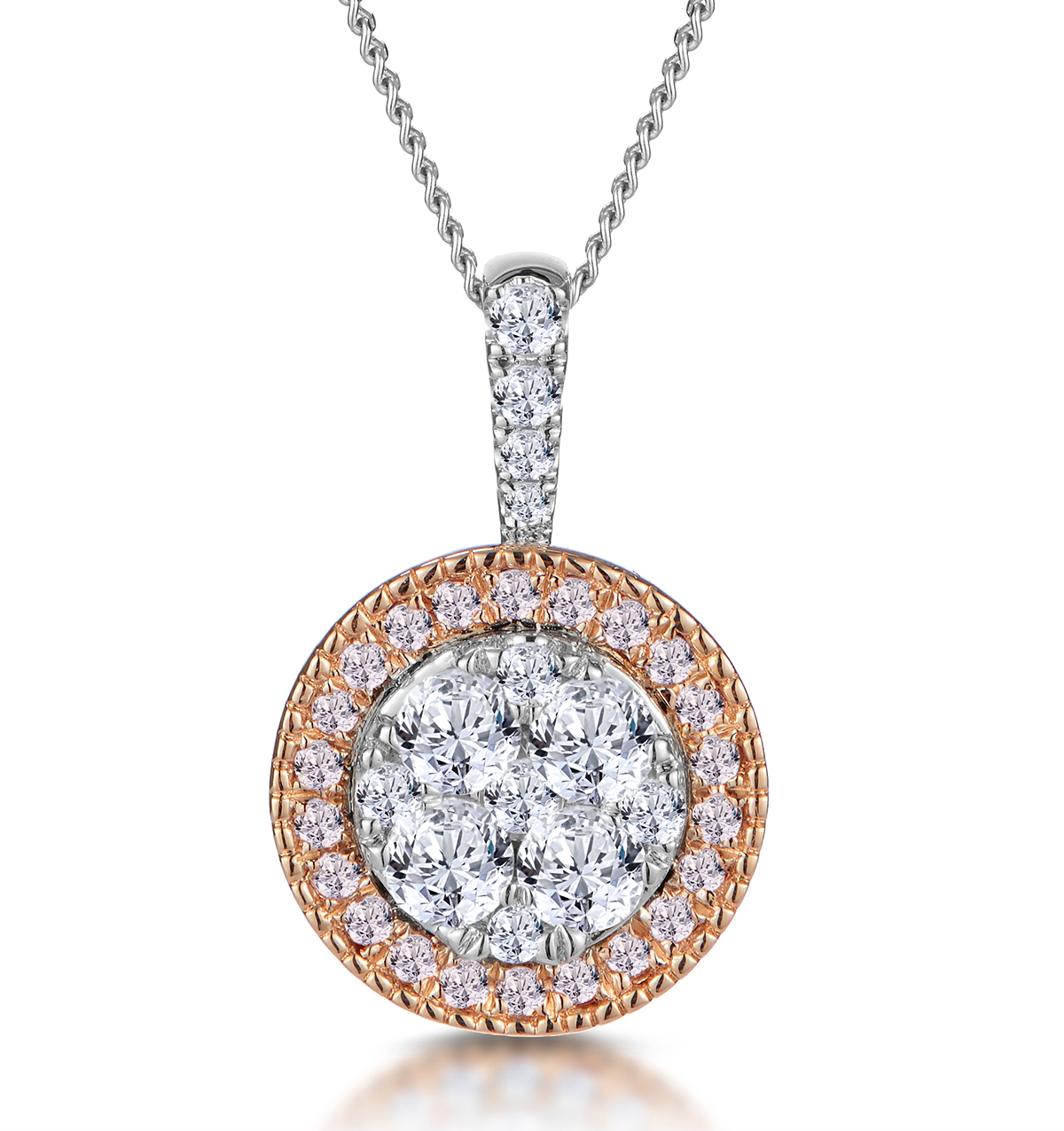 DIAMOND AND PINK DIAMOND HALO CIRCLE NECKLACE - ASTERIA COLLECTION