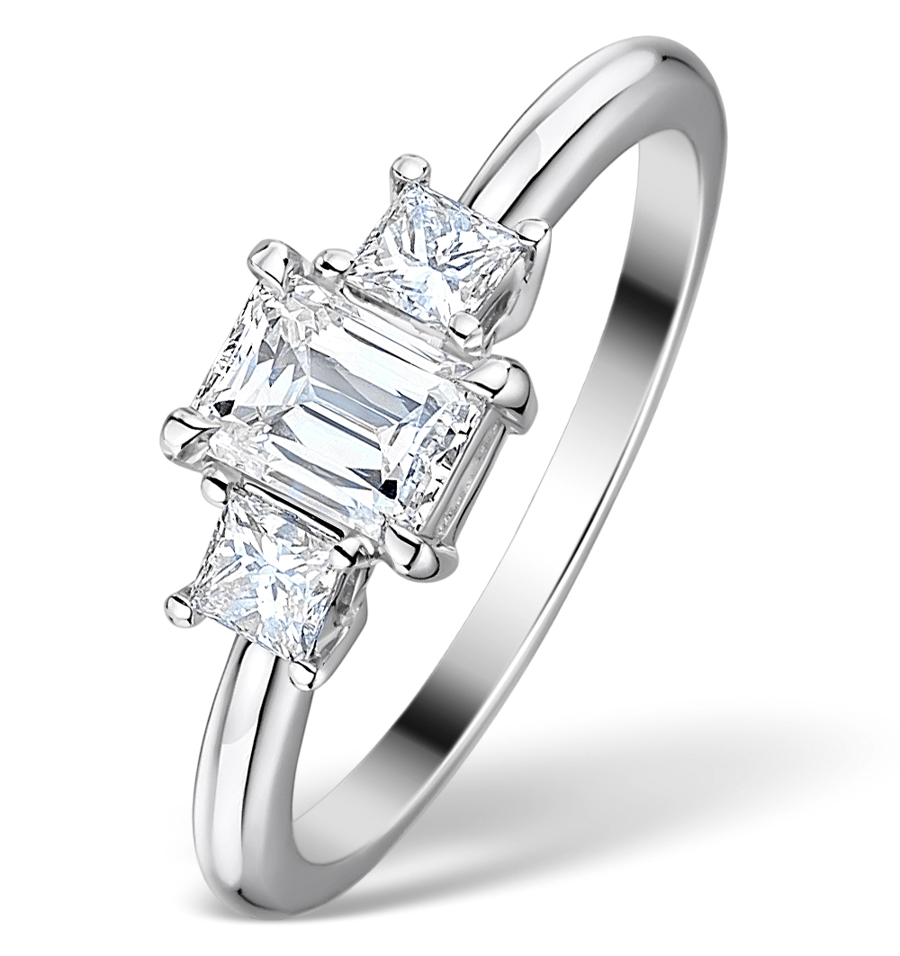 1CT IDEAL PRINCE AND PRINCESS CUT DIAMOND AND 18K WHITE GOLD H/SI RING