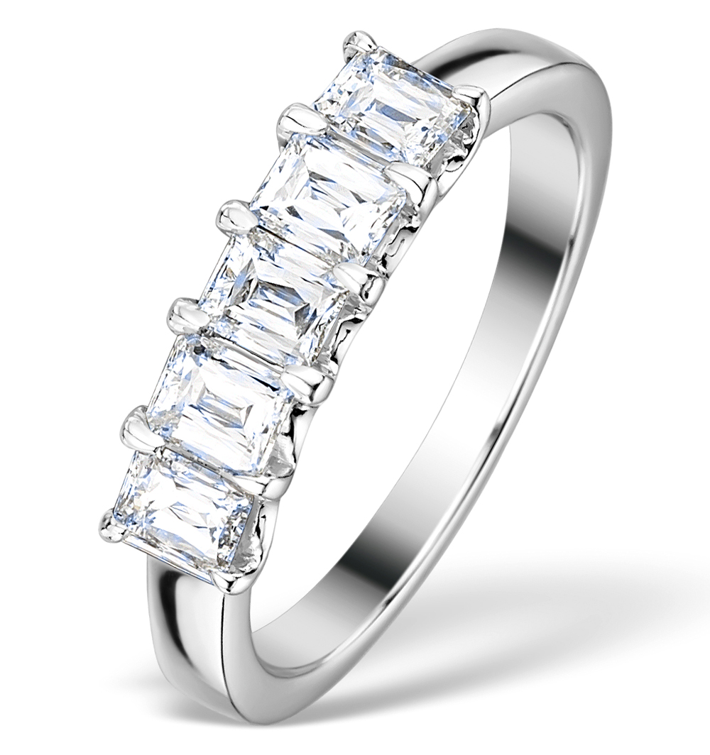 1CT IDEAL PRINCE CUT DIAMOND AND 18K WHITE GOLD H/SI RING FT53