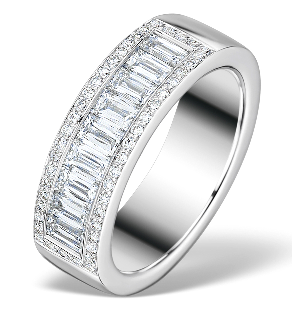 1.50CT IDEAL PRINCE CUT DIAMOND AND 18K WHITE GOLD H/SI RING FT56