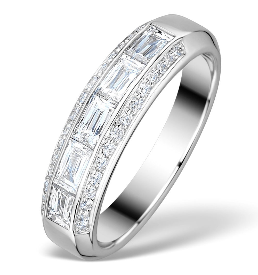 1CT IDEAL PRINCE CUT DIAMOND AND 18K WHITE GOLD H/SI RING FT57