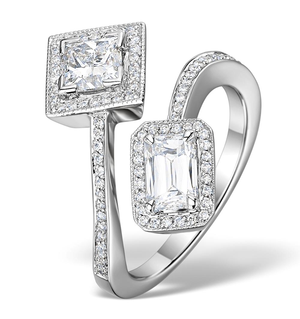 ENGAGEMENT RING PRINCE/PRINCESS CUT DIAMONDS 1.7CT H/SI 18K WHITE GOLD