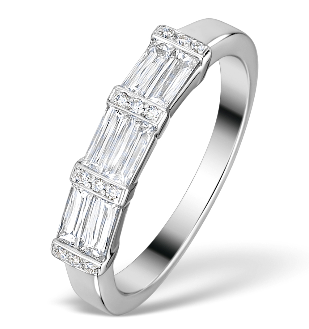 0.70CT IDEAL PRINCE CUT DIAMOND AND 18K WHITE GOLD H/SI RING FT59