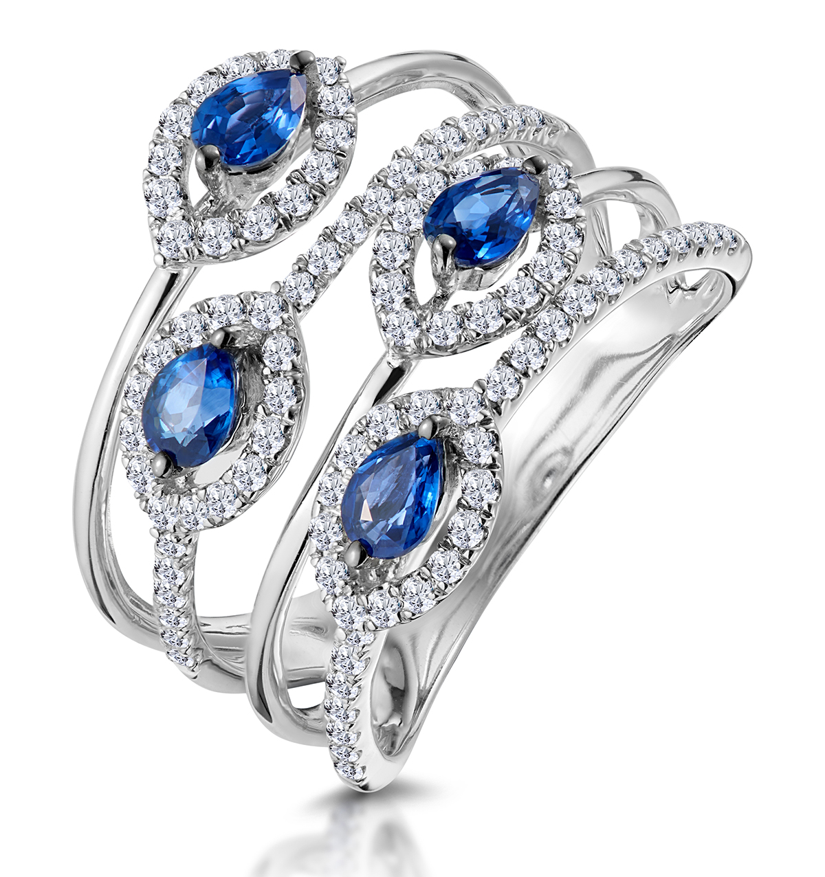 Sapphire and Diamond Statement Ring in 18KW Gold - Asteria Collection