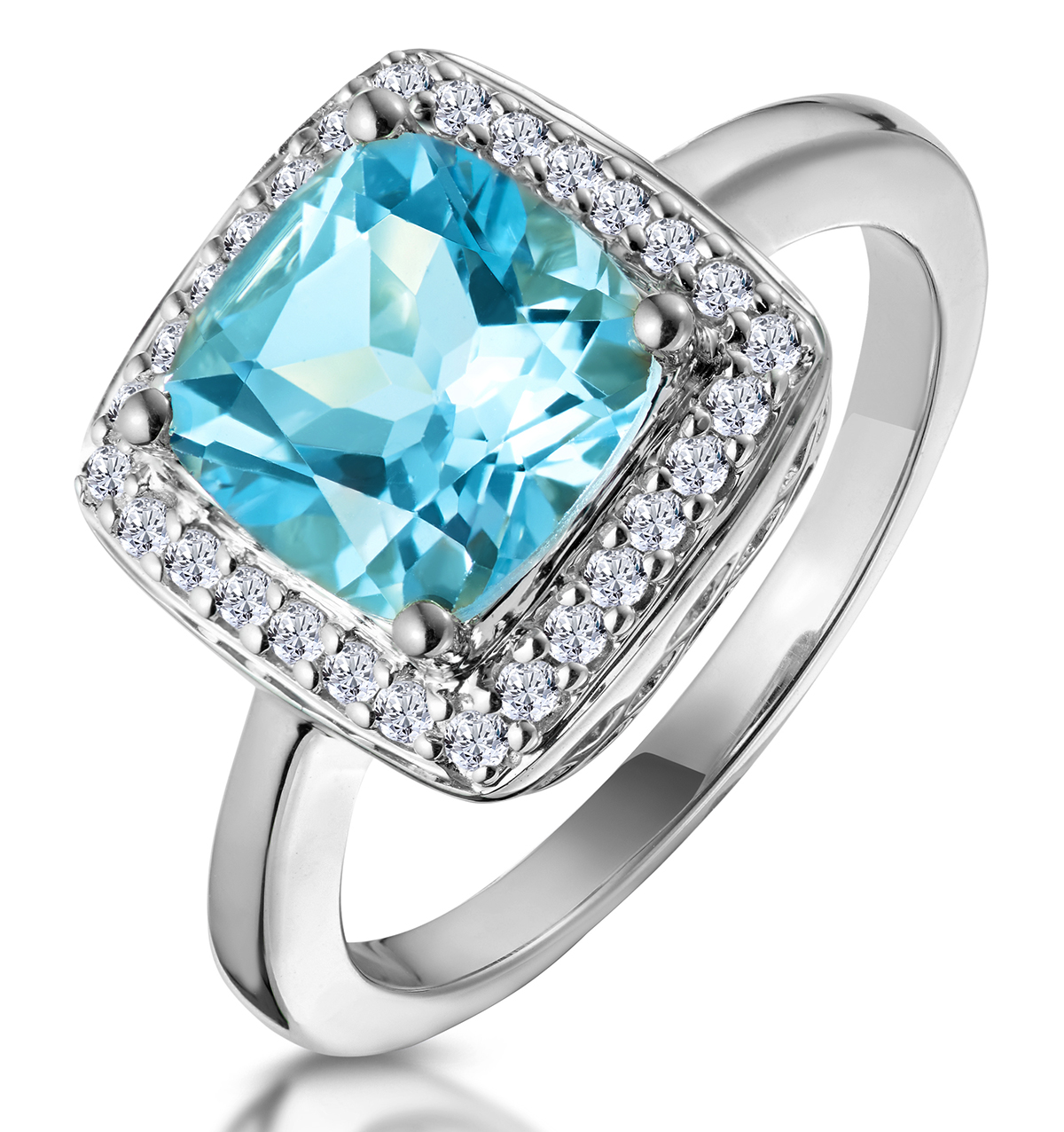 2CT BLUE TOPAZ AND DIAMOND STATEMENT RING 18KW - ASTERIA COLLECTION