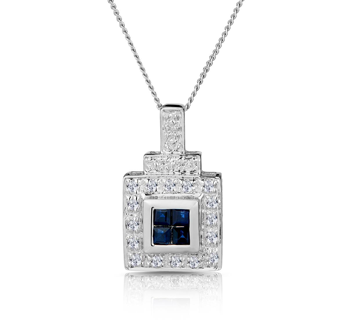 Sapphire 17 x 5 mm And Diamond 9K White Gold Pendant