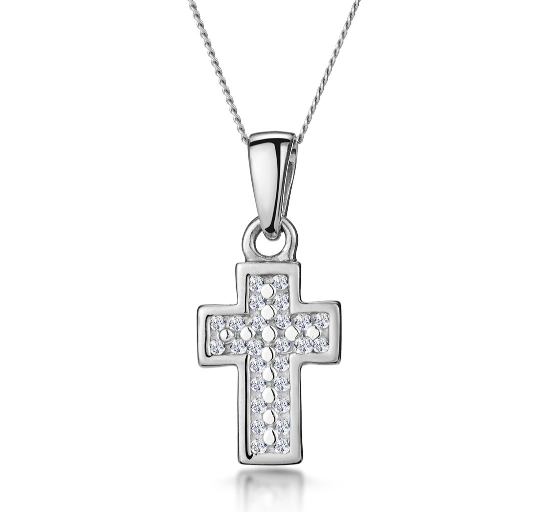 0.15CT DIAMOND PAVE CLUSTER CROSS IN 9K WHITE GOLD