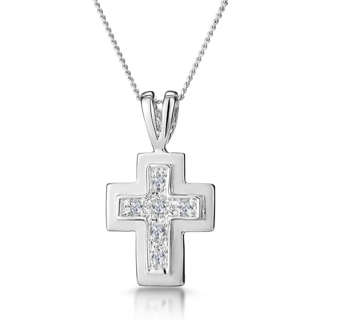 DIAMOND CROSS NECKLACE WITH STRAIGHT EDGES IN 9K WHITE GOLD