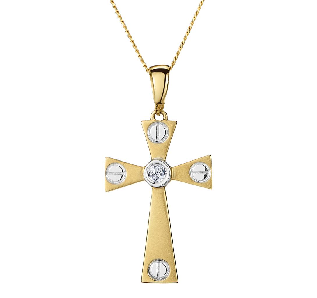 DIAMOND CENTRE CROSS NECKLACE IN 9K GOLD