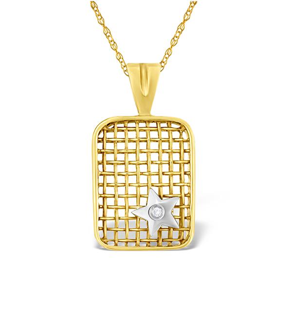 9K GOLD DIAMOND STAR DESIGN NET PENDANT
