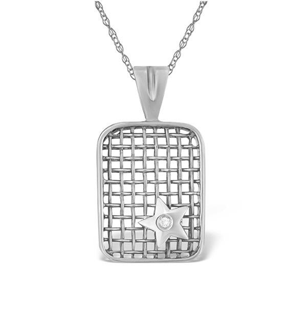 0.02CT DIAMOND AND 9K WHITE GOLD PENDANT