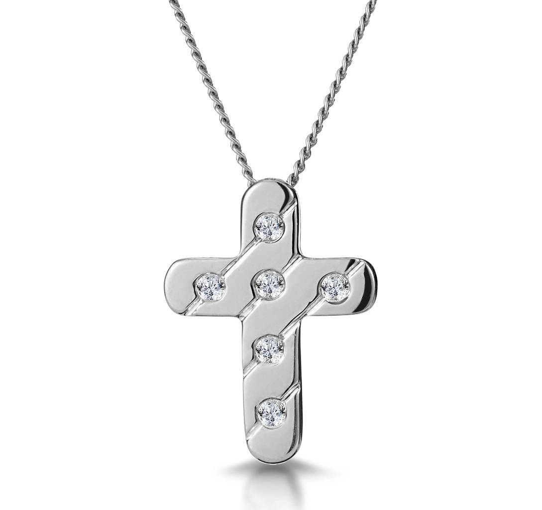 DIAMOND INLAID CROSS NECKLACE IN GROOVED 9K WHITE GOLD