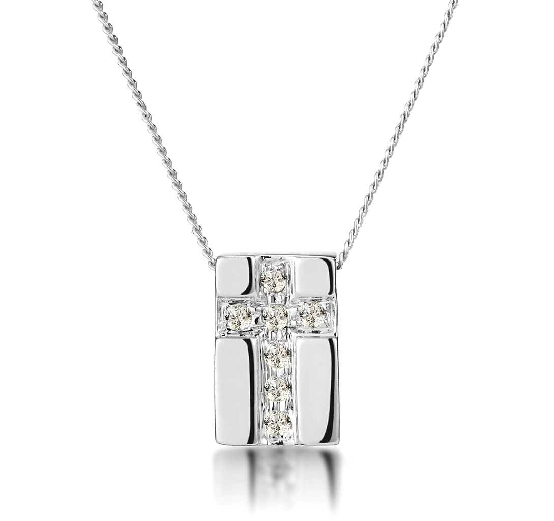 PAVE INLAID DIAMOND CROSS NECKLACE IN 9K WHITE GOLD