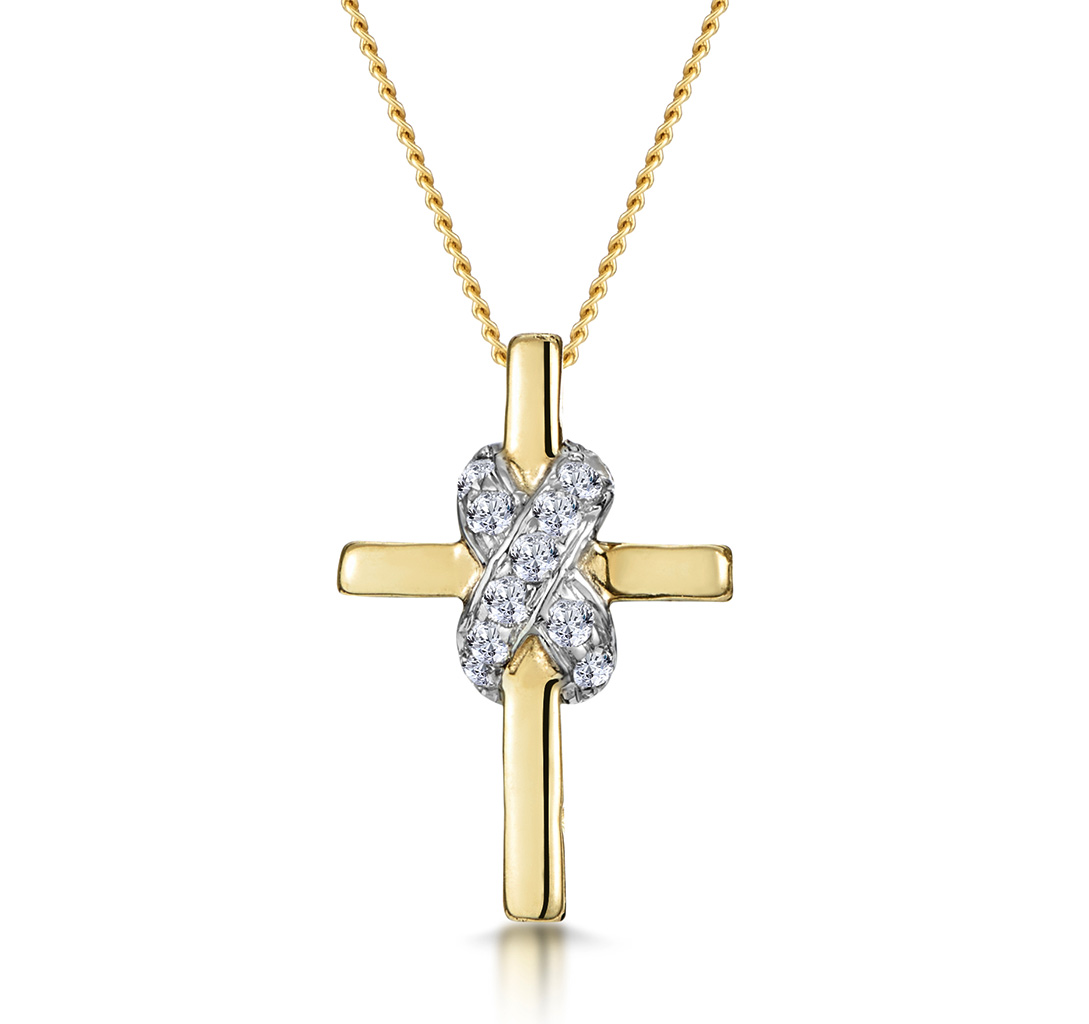 0.13CT DIAMOND BONDED DESIGN CROSS NECKLACE IN 9K GOLD