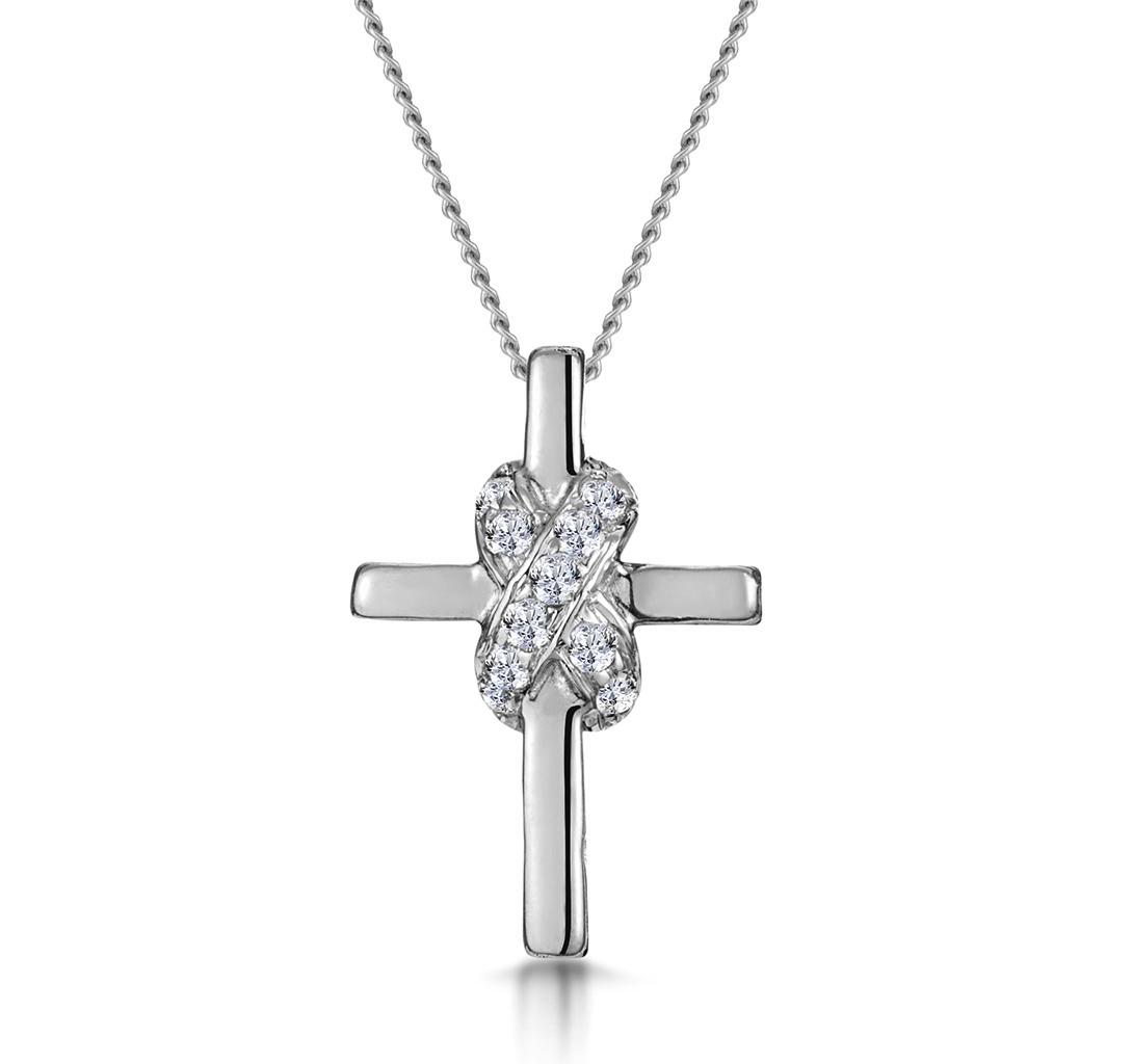 0.13CT DIAMOND BONDED DESIGN CROSS NECKLACE IN 9K WHITE GOLD