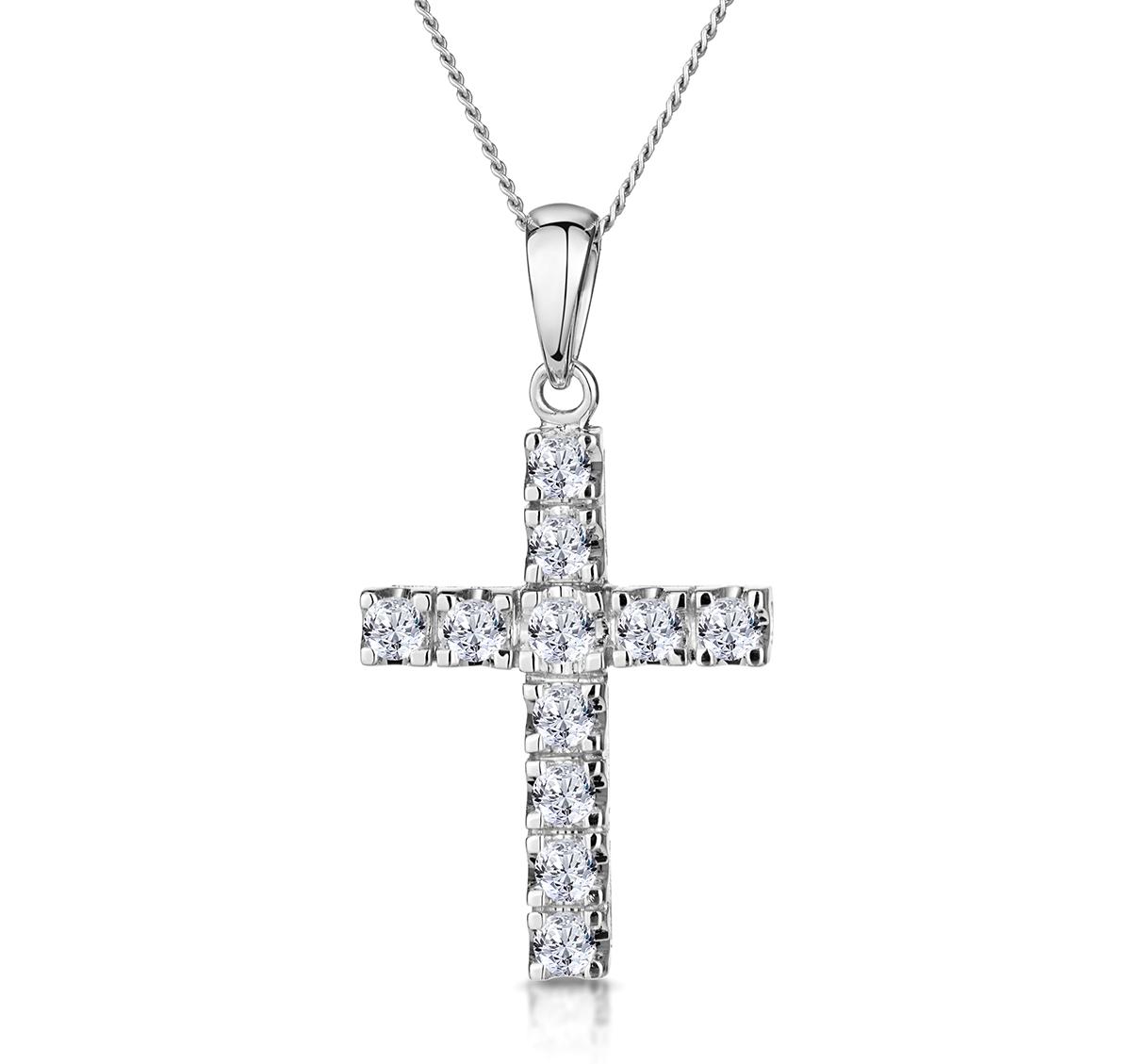 CROSS PENDANT 0.46CT DIAMOND 9K WHITE GOLD