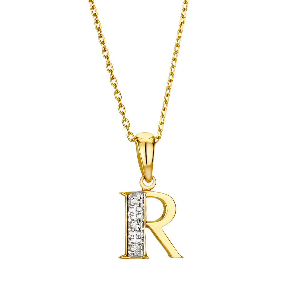 9k gold diamond initial pendant letter 39r39 item rtc g3789 for Letter d diamond pendant