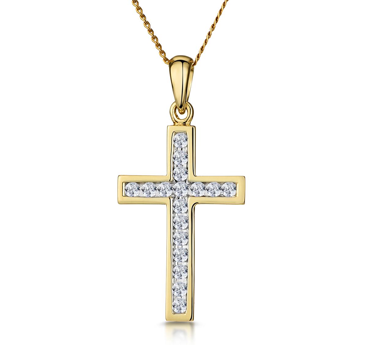 CROSS PENDANT 0.25CT DIAMOND 9K YELLOW GOLD W13 X L20MM