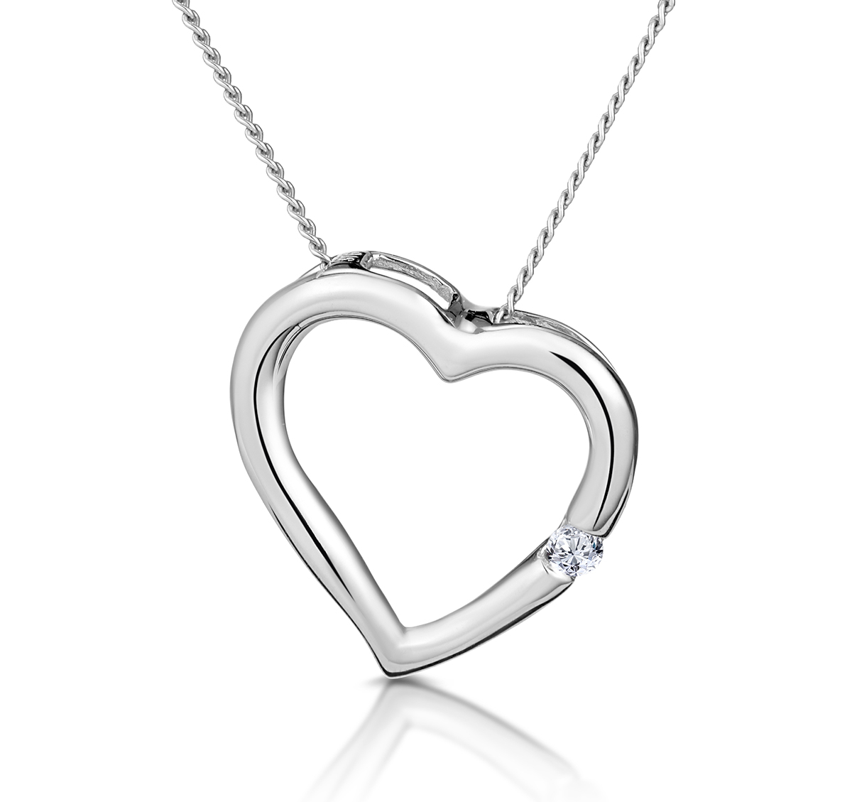 Heart Pendant 0.03ct Diamond 18K White Gold