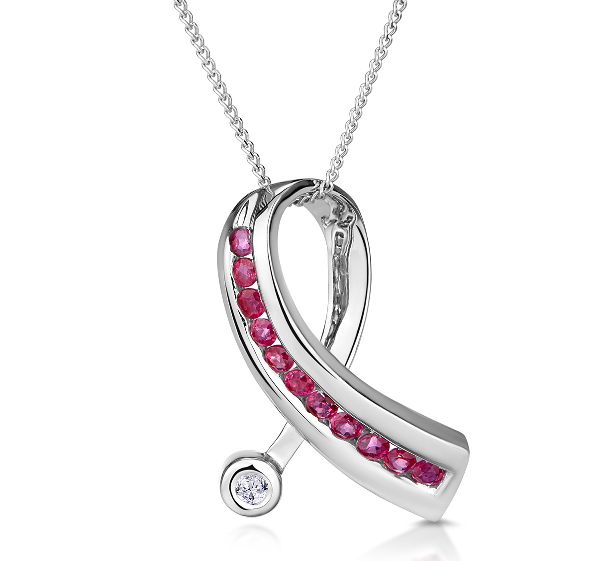 Ruby 0.33CT And Diamond 9K White Gold Ribbon Pendant