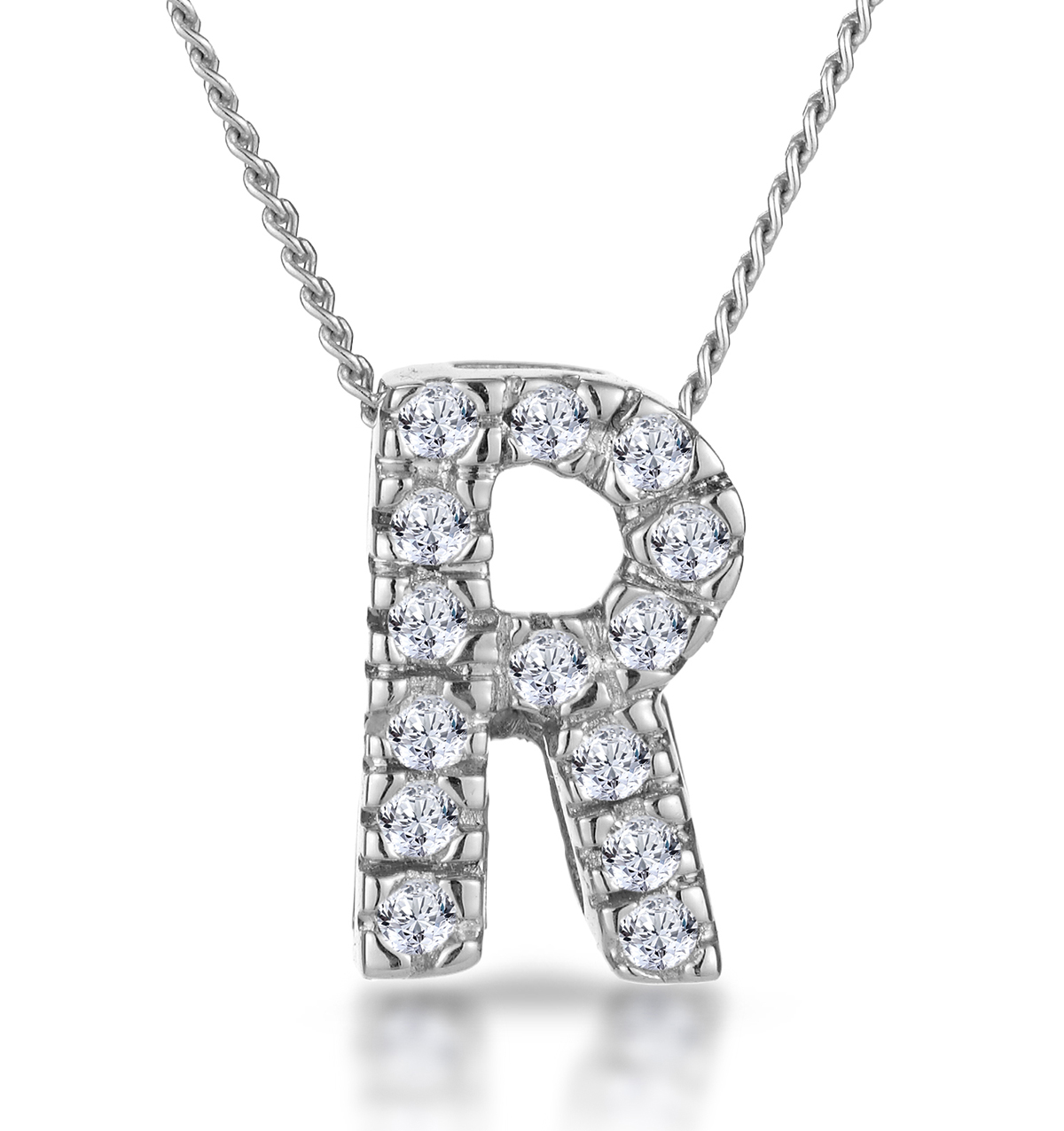 0.10CT DIAMOND INITIAL R NECKLACE