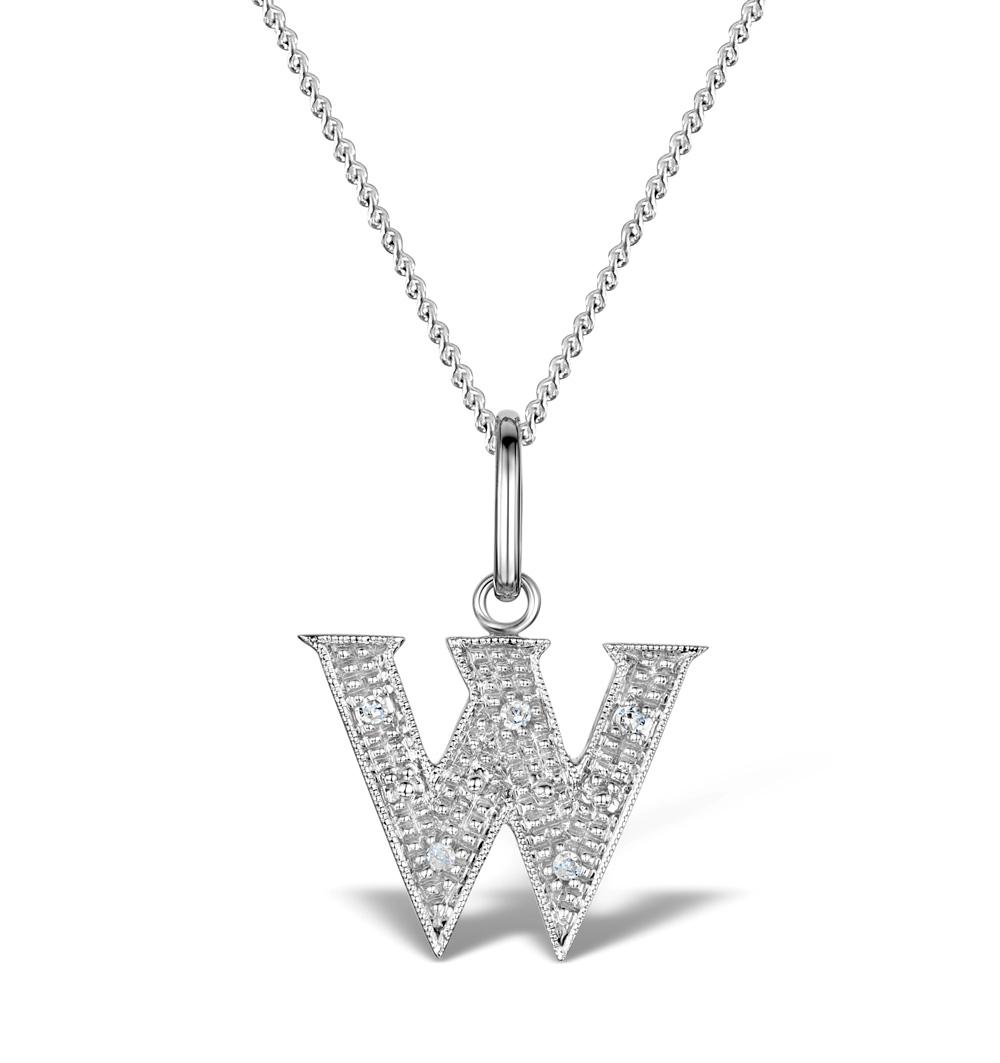 DIAMOND 0.03CT 9K WHITE GOLD INITIAL PENDANT - RTC-G43088Y