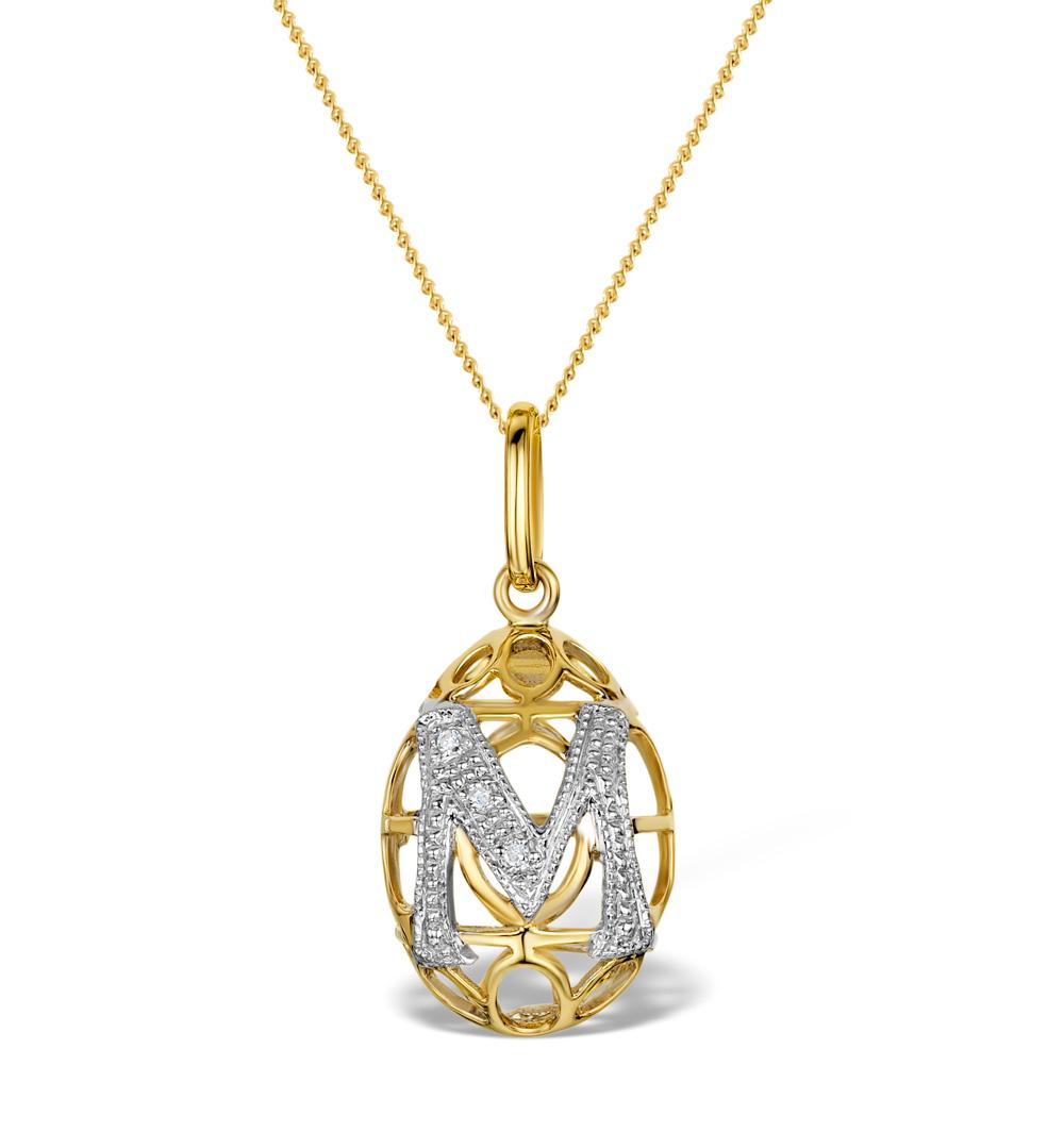DIAMOND 0.01CT 9K GOLD EGG PENDANT - RTC-G4400