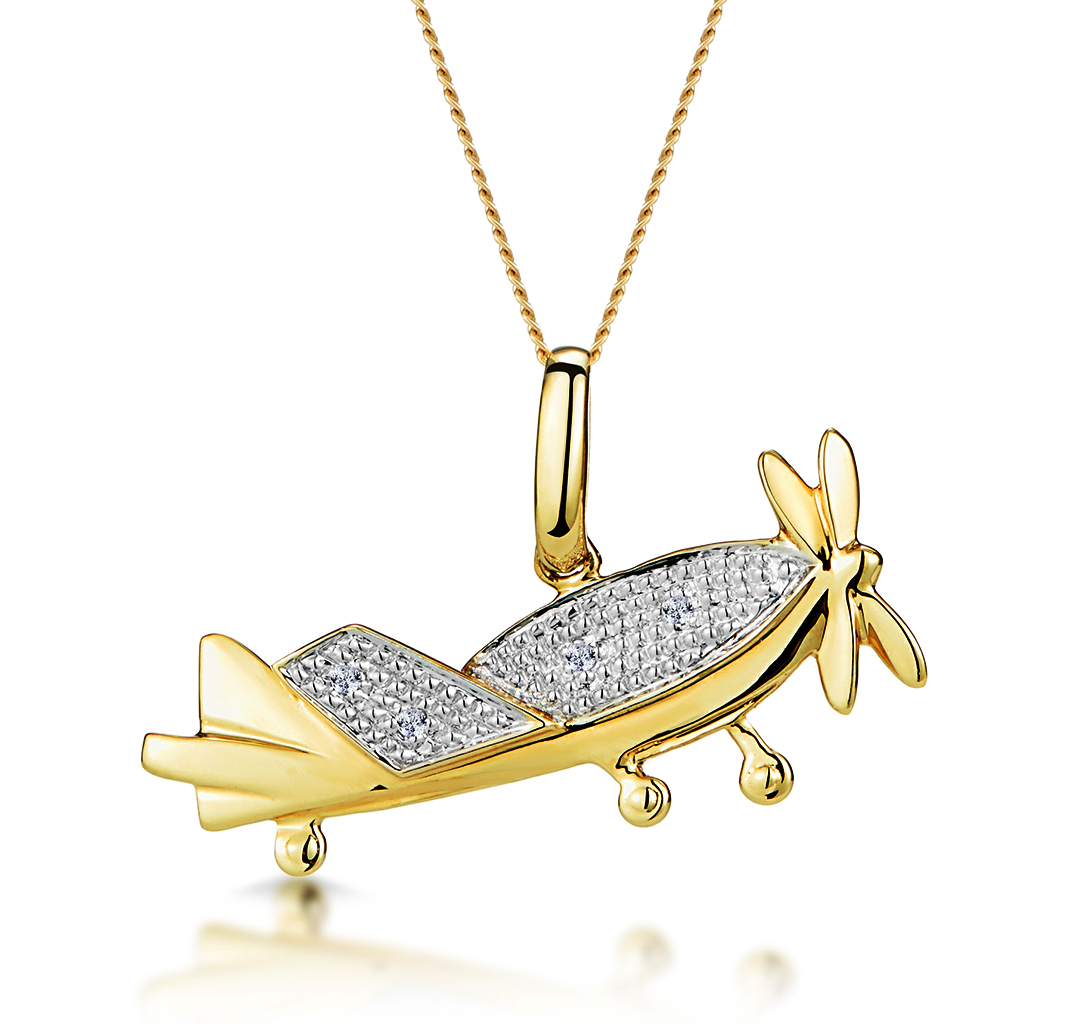 0.02CT DIAMOND STUDDED AEROPLANE NECKLACE IN 9K GOLD