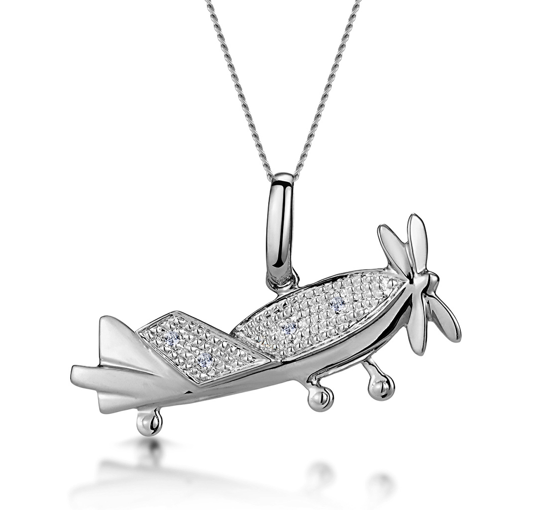 0.02CT DIAMOND STUDDED AEROPLANE NECKLACE IN 9K WHITE GOLD
