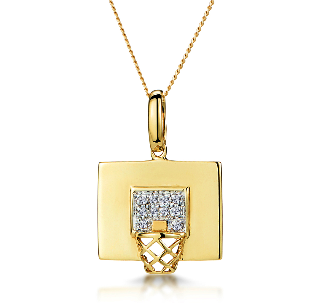 0.02CT DIAMOND PAVE BASKETBALL HOOP NECKLACE IN 9K GOLD