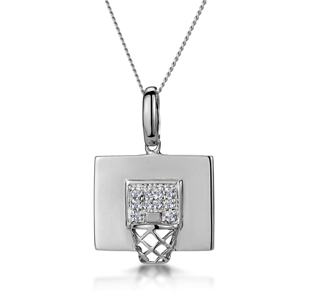 0.02CT DIAMOND PAVE BASKETBALL HOOP NECKLACE IN 9K WHITE GOLD