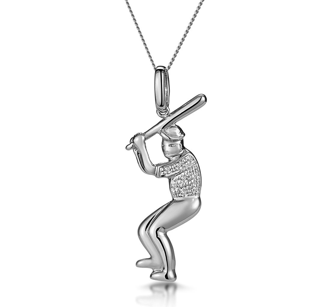 0.02CT DIAMOND PAVE BASEBALL PLAYER NECKLACE IN 9K WHITE GOLD