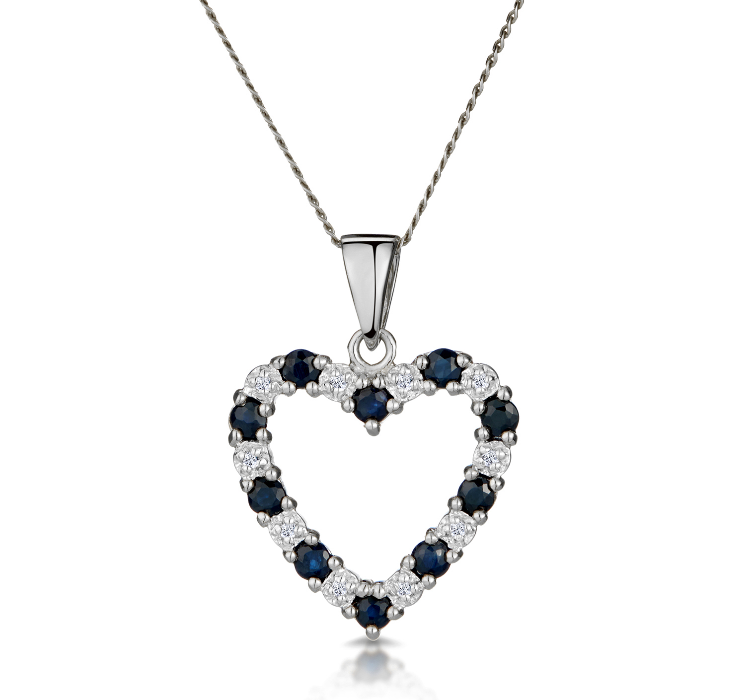 9K WHITE GOLD DIAMOND AND SAPPHIRE PENDANT 0.03CT
