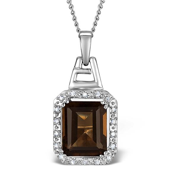 SMOKY QUARTZ 3.56CT AND DIAMOND 9K WHITE GOLD PENDANT