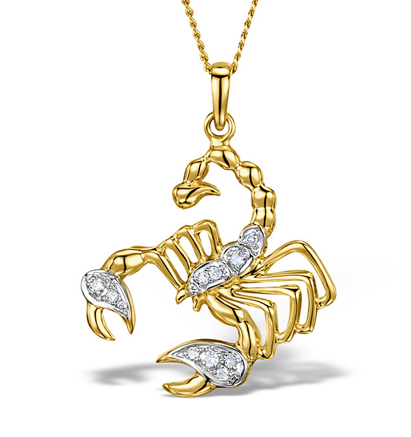9K GOLD DIAMOND SCORPIO PENDANT 0.06CT