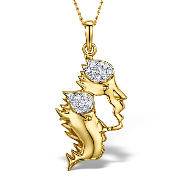 9K GOLD DIAMOND GEMINI PENDANT 0.10CT