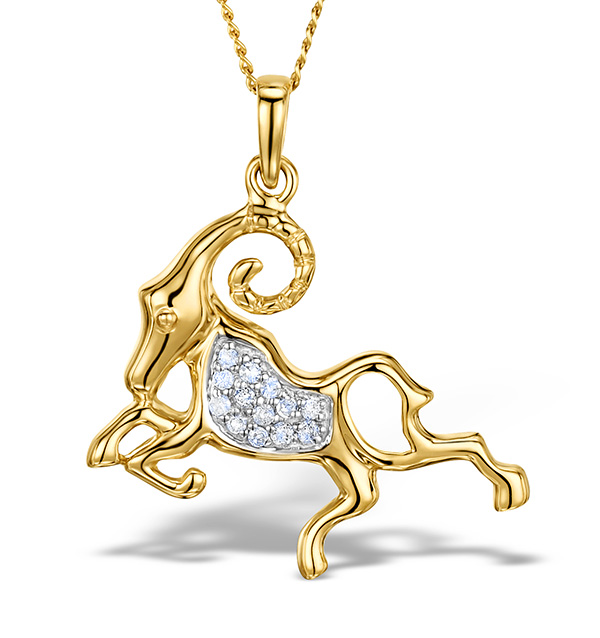 9K GOLD DIAMOND ARIES PENDANT 0.07CT