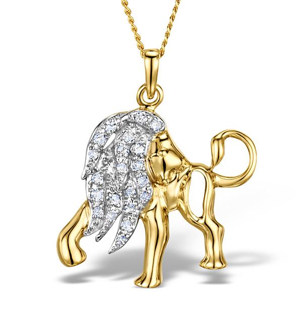 9K GOLD DIAMOND LEO PENDANT 0.12CT