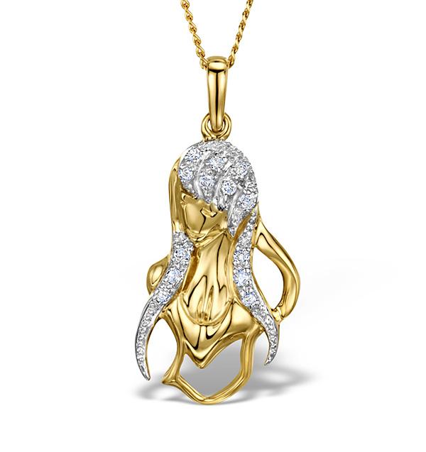 9K GOLD DIAMOND VIRGO PENDANT 0.08CT