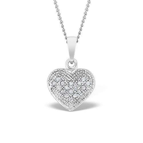 Heart Pendant 0.09ct Diamond 9K White Gold